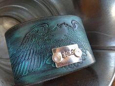 www.etsy.com/shop/journeyondesigns Leather cuff bracelet, handmade from recycled belts, Eagle jewelry, unisex