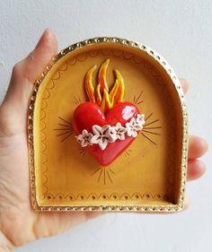 Flaming heart shrine-Sacred heart-Religious Kitsch-Ceramic Wall art