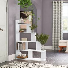 Latitude Run Ziolkowski Step Bookcase Step Bookcase, Cube Bookcase, Etagere Bookcase, Ladder Bookcase, Bookshelves, Home Library Rooms, Room Partition Designs, Modern Shelving, Living Spaces