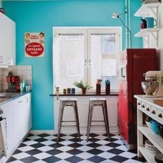 Retro Kitchen Design Style With Diamond Flooring And Blue Wall And ...