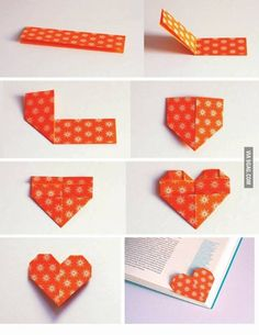 Origami Heart Corner Bookmark Instructions Lovely Diy Heart Bookmark S and for – Origami Paper Folding Paper Crafts Origami, Diy Origami, Diy Paper, Heart Origami, Origami Hearts, Oragami, Cute Origami, Origami Boxes, Dollar Origami
