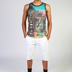 Hollywood Men's Tank White Summer Shorts