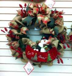 burlap christmas wreath with snowman in canoe did the santa canoe also 2014 - Michaels Christmas Crafts