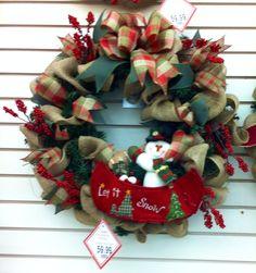 burlap christmas wreath with snowman in canoe did the santa canoe also 2014 - Michaels Christmas Garland