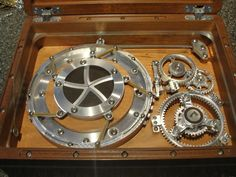 "view of lock mechanism and ""mechanical iris"" compartment"