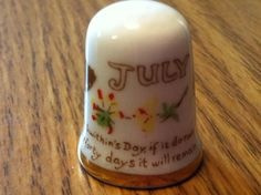 """""""St. Swithin's Day, (July 15) if it do rain, for forty days it will remain"""".  CAVERSWALL, England, from """"The Country Diary of an Edwardian Lady"""" collection, which comprises 12 thimbles produced in 1977 for the Thimble Collectors Club (TCC)"""