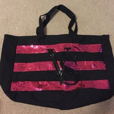 Victoria's Secret tote bag Large black and pink sequin Victoria's Secret tote bag. Victoria's Secret Bags Totes