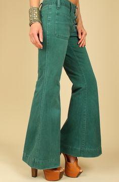 Vintage 1970s Dark Green Elephant Hip Hugger Bell Bottom Jeans Unique Slacks n Jeans of California
