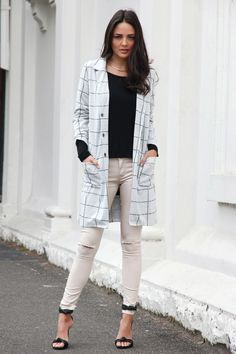 Nocturnal Grid Coat Grey - Madison Square Madison Square, White Jeans, Grid, Coat, Pants, Collection, Fashion, Trouser Pants, Moda
