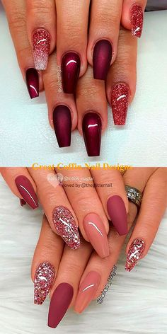 burgundy coffin nails with glitter ideas - burgundy coffin nails . Cute burgundy coffin nails with glitter ideas - burgundy coffin nails .Cute burgundy coffin nails with glitter ideas - burgundy coffin nails . Cute Acrylic Nails, Acrylic Nail Designs, Cute Nails, My Nails, Pink Nails, Acrylic Gel, Green Nail Designs, Cute Nail Designs, Nail Design Glitter