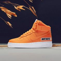 "check out a3566 36a86 Graffitishop® on Instagram  ""Nike Chronicle - Chapter 4 Arancio fluo e logo  JDI per le ultime Air Force 1 High da donna.   Cerchi il tuo paio prefe"