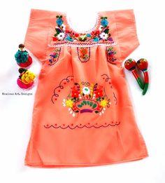 Sarita Mexican Embroidered peach Baby Dress por MexicanartDesigns