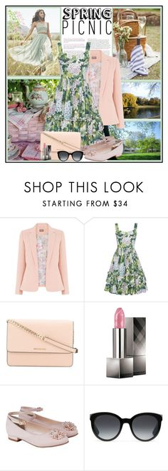 """Spring Picnic !"" by fantasy-rose ❤ liked on Polyvore featuring H&M, Needle & Thread, MICHAEL Michael Kors, Burberry, Monsoon, Gucci, Pink, picnic, floraldress and Spring2017"