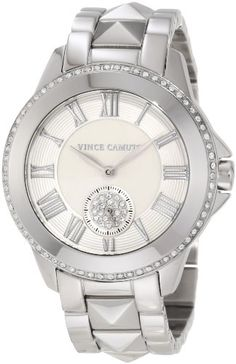 Vince Camuto Women%27s VC%2F5049SVSV Round Swarovski Crystal Accented Silver-Tone Bracelet Watch