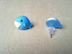 Whale polymer clay earrings