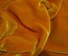 Iridescent GOLDEN ORANGE Silk Velvet Fabric - 1 Yard