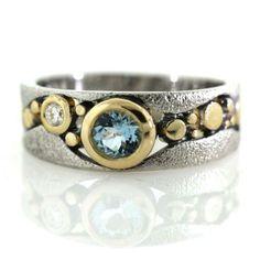 River Pebbles Ring with Aquamarine and Diamond by Rona Fisher Jewelry #aquamarine #goldring #diamondring #luxuryjewelry
