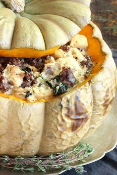 another version of stuffed pumpkin ! Recipe: Savory Stuffed Pumpkin with Sausage and Gruyère — 5 Festive Pumpkin Recipes from Nealey Dozier Thanksgiving Recipes, Fall Recipes, Pumpkin Dinner Recipes, Autumn Recipes Dinner, Holiday Recipes, Holiday Ideas, Savory Bread Puddings, Stuffed Pumpkin, Breakfast Casserole