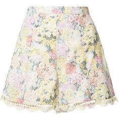 Zimmermann Scallop Edge Floral Shorts ($350) ❤ liked on Polyvore featuring shorts, kirna zabete, kzloves, prints please, highwaist shorts, high waisted print shorts, colorful shorts, floral print shorts and print shorts