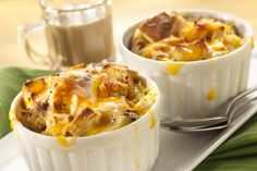 Our 4 Cheddar Apple Bread Pudding is sure to be a fall favorite!