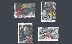 """De kinderpostzegels uit 1979 met het thema """"Rechten van het kind"""". Ontwerp: W. Diepraam/J. van Toorn"""
