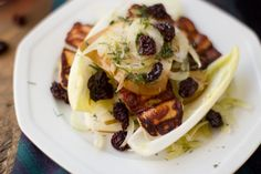 Endive Pear Halloumi Salad with Sherry Vinaigrette