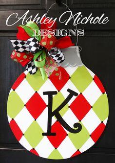 SHIPS NOW!!  Harlequin Ornament  Door Hanger, Christmas Door Decor, Christmas Wreath