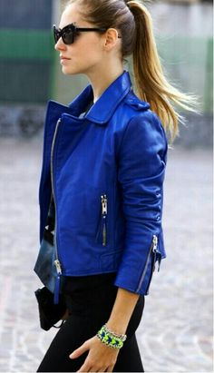 Dazzling blue leather jacket