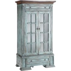 Cottage styled moonstone finish and wood-tone top is what you will find on the Hartford Display Cabinet