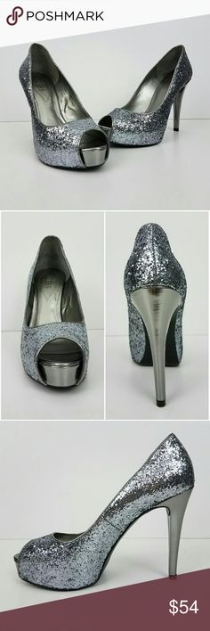 {Guess} Silver Glitter Peep Toe Stiletto Heel-9 *NWOT, Never Worn* Beautiful & fun pair of special occasion heels. Features silver glitter upper covered genuine leather, peep toe, & patent silver covered heel & platform.  Wear these shoes for your New Year?s Eve celebration, special occasions like weddings, or even a night out on the town. Approx. measurements: 4.5 inch stiletto heel, 1 inch hidden platform. Size 9. Brand: Guess. Offers & bundles warmly welcomed! Guess Shoes Heels