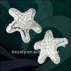 star fish silver stud earrings