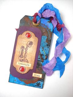 Victorian Blue Telephone Tag Mixed Media Tag by TheAlteredDiaries