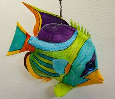 saddled butterfly fish Clay Fish, Felt Fish, Fish Wall Art, Fish Art, Fish Crafts, Rock Crafts, Colorful Fish, Tropical Fish, Surfboard Painting