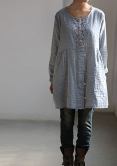 Worthy of love/ Light blue Shirt dress/ single breasted by MaLieb, $72.00
