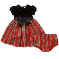 Little Me Baby-Girls Plaid Christmas Dress and Panty Set - Red and Black - 6M. Baby Sizes 3M, 6M, 9M, 12M, 18M, and 24 Months include 1 Special Occasion black and red plaid velvet dress and 1 matching plaid diaper cover bloomer. Toddler Sizes 2T, 3T, and 4T include the dress only. The top of the dress is very soft black velvet with a collar and satin sewn on ribbon bow around the waist. The dress is short sleeves and buttons in the back. The dress then flows out into a red plaid corduroy...