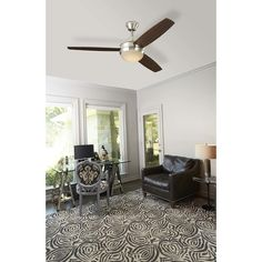 Harbor Breeze Beach Creek 52-in Brushed Nickel LED Indoor Ceiling Fan with Light Kit and Remote (3-Blade) in the Ceiling Fans department at Lowes.com Fan Light, Low Ceiling, White Ceiling, Brushed Nickel Lighting, Contemporary Design, Ceiling Fan, Indoor, Modern Ceiling, Glass Lighting