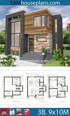 House Plans with 3 Bedrooms - Sam House Plans - Architecture Duplex House Plans, House Layout Plans, Cottage House Plans, Bedroom House Plans, House Layouts, Free House Plans, Small Modern House Plans, Small House Design, Modern House Design
