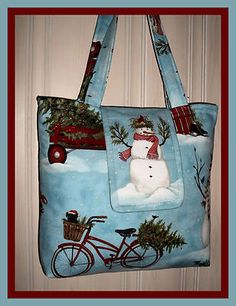 Winter Holiday Wonderland SNOWMAN purse OOAK tote Christmas bag XL ML  Thompson Mrs Claus 1402c4540beb9