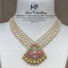 Pearl Necklace Designs, Gold Earrings Designs, Pearl Choker Necklace, Antique Necklace, Beaded Necklace, Bead Jewellery, Jewellery Designs, Temple Jewellery, Beaded Jewelry