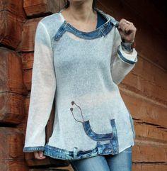 Sommer Pullover Jeans. Pullover Material und Recycling-Jeans. Hippie Boho. Sehr zart und dünn. Transparent. Sie benötigen die oben unter oder BH der Körperfarbe. Sehr komfortabel. Einzigartiges Design. Einer Art. Größe: M - L (Europäische 38-40) Büste Linie max 41 Zoll (104 cm) Hüften Linie max 47 Zoll (120 cm) Länge: 29 Zoll (74 cm)
