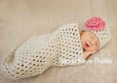 Crochet Pattern - Newborn Bunting Cocoon and Hat (with Optional Flower) - Great Photo Prop - Instant Download  PDF -- $4.50