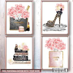 Fashion Wall Art Fashion Wall Decor Bedroom Wall Art Vanity Wall Art Peony Art Set Fashion Art Print Fashion Poster Set Above Bed Art Set Fashion, Fashion Books, Fashion Decor, Fashion Glamour, High Fashion, Paper Fashion, Chanel Fashion, Fashion Edgy, Runway Fashion