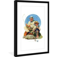 Marmont Hill Catching the Big One by Norman Rockwell Framed Art Print, Size: 12 inch x 18 inch, Blue