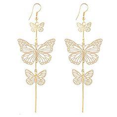 Malloom® 1 pair Boucles d'oreilles – Creux papillon femmes alliage Dangle Boucles Eardrop Bijoux