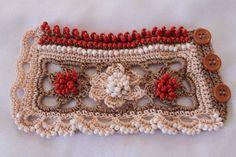 crochet beaded cuffs | ... crochet beaded cuff bracelet 4 Ivory Beige Orange Crochet Beaded Cuff