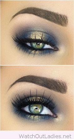 Navy and golden eye makeup