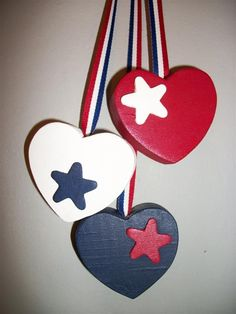 SALE Patriotic Hanging Hearts 3 Hearts Red White Blue