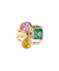 Look at this Cubic Zirconia & Gold Carly Stackable Ring Set on #zulily today!