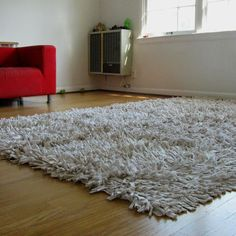 Recycled T-Shirt Rug in Cafe Au Lait 5' x 8'. $650.00, via Etsy.