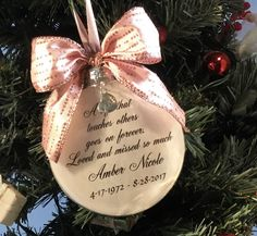 A beautiful way to remember a loved one. Memorial Ornaments, Memorial Gifts, Glass Ornaments, Christmas Ornaments, M M Candy, Own Quotes, How To Make Ornaments, Etsy Seller, Gift Wrapping